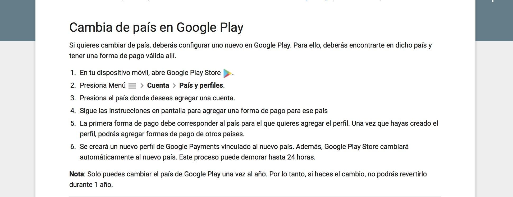cambiar pais en google play