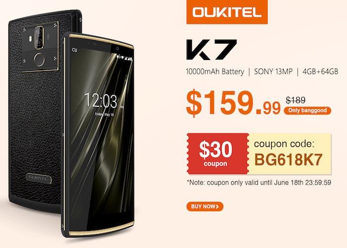 Aprovecha la promoción del Oukitel K7 con 30 dólares de descuento