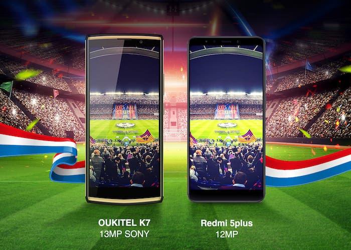 La cámara del Oukitel K7 se enfrenta a la del Xiaomi Redmi 5 Plus