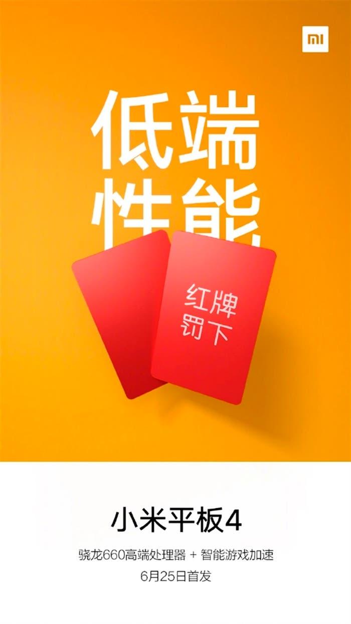 Cartel de la Xiaomi Mi Pad 4