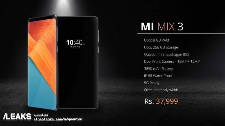 XIAOMI MI MIX 3 - Posible precio y especificaciones