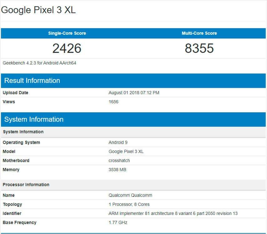 Google Pixel 3 XL en Geekbench