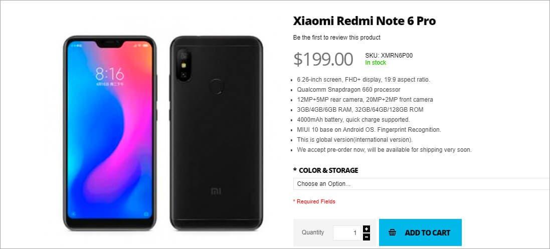 Xiaomi Redmi Note 6 Pro tienda