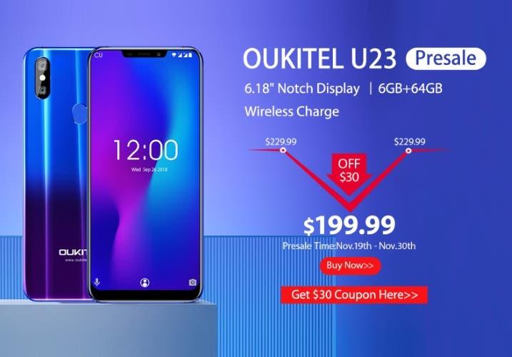Consigue el OUKITEL U23 con 30 dólares de descuento