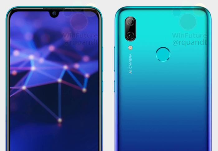 Primer render del Huawei P Smart 2019 con cristal y notch pequeño