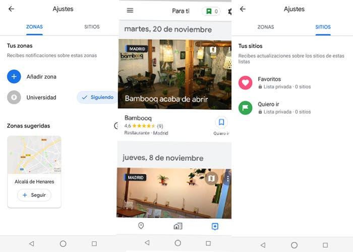 Google Maps estrena pestaña con recomendaciones personalizadas