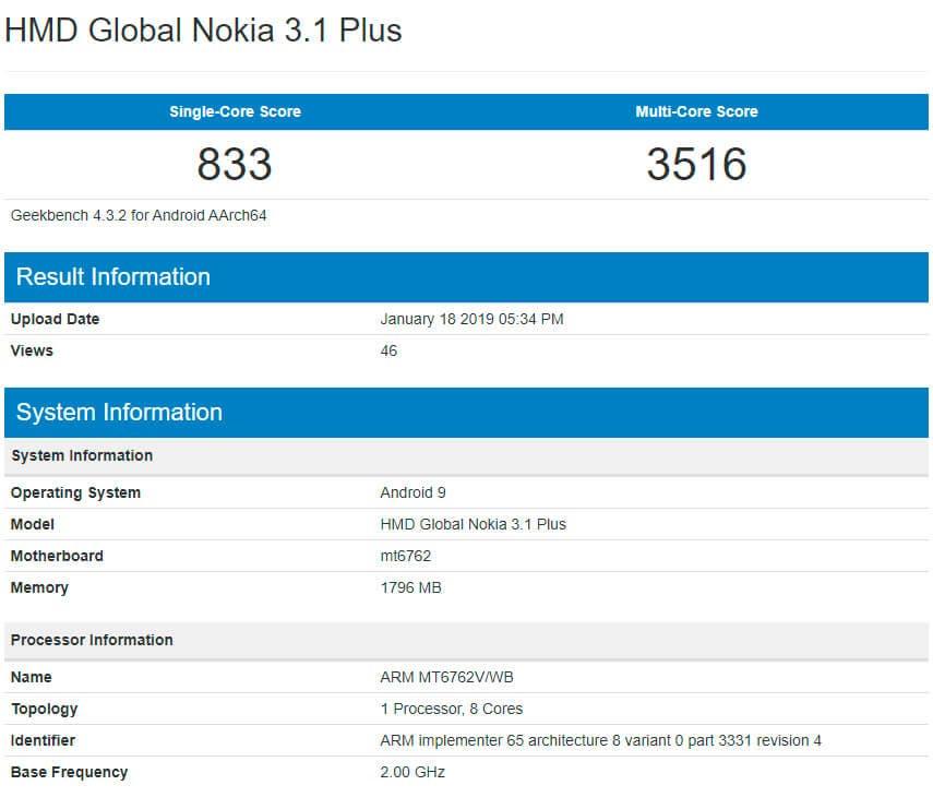 Nokia 3.1 Plus Geekbench