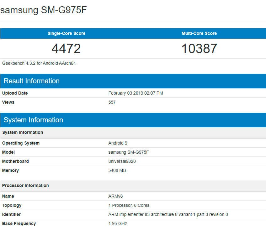 Samsung Galaxy S10+ Geekbench