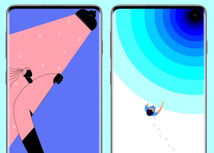 Galaxy S10: los fondos oficiales de Samsung para esconder el agujero