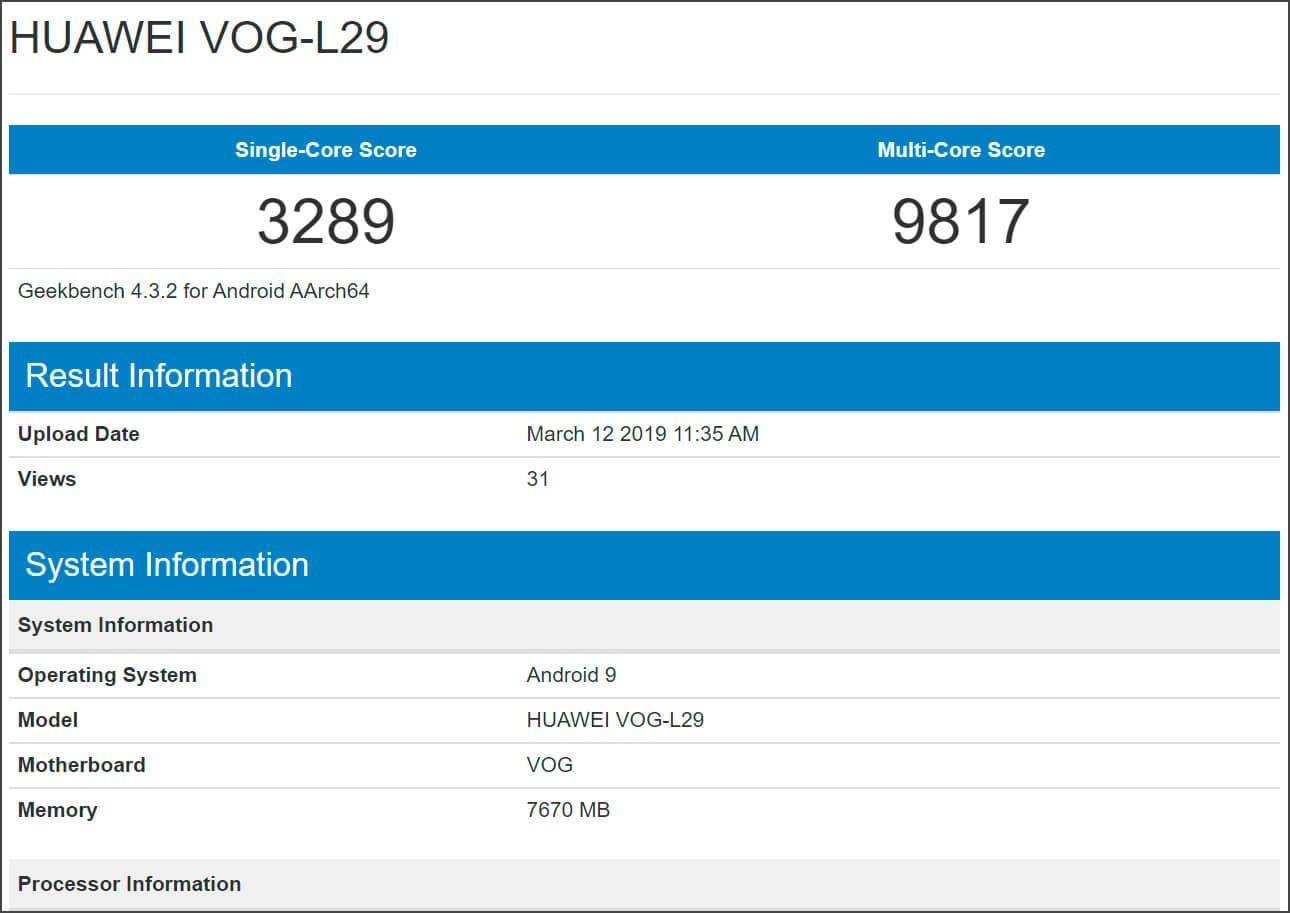 Huawei P30 Pro Geekbench