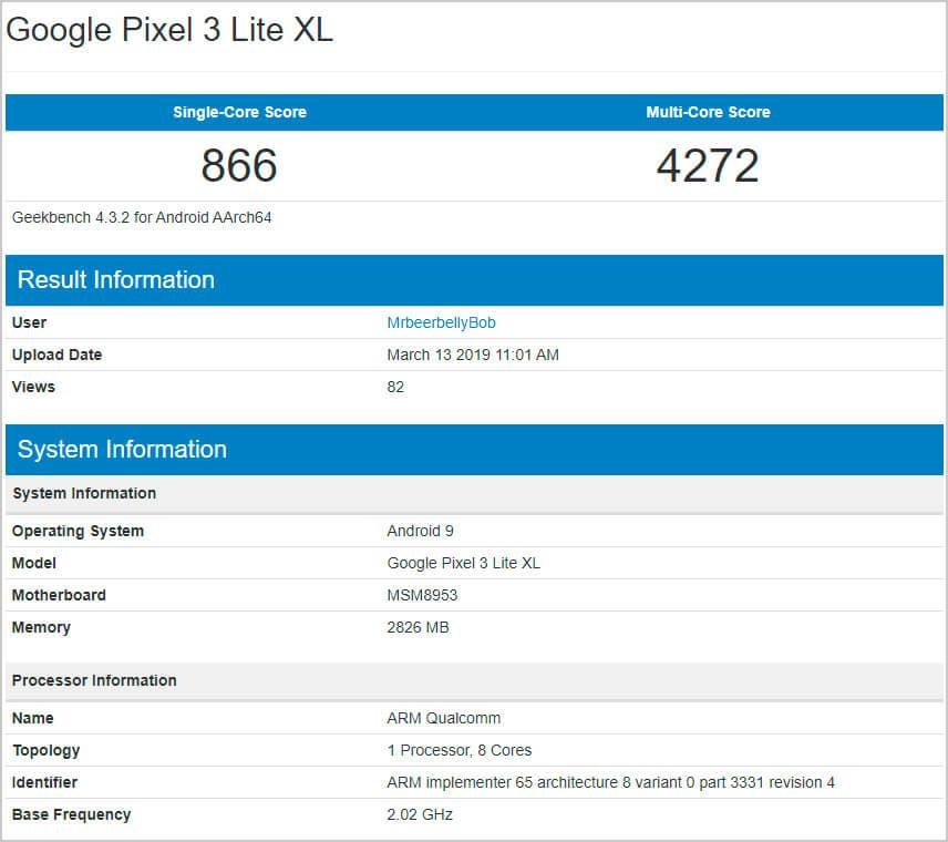 Geekbench Google Pixel 3 XL Lite