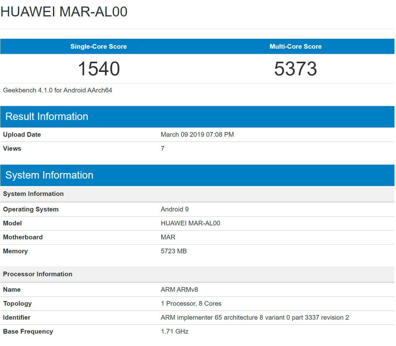 Huawei P30 Lite Geekbench