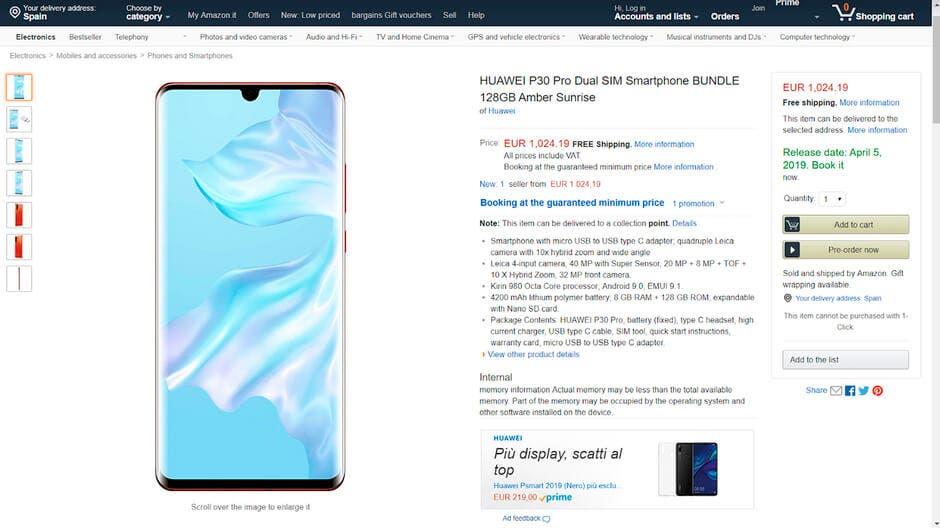 precio del Huawei P30 Pro en Amazon