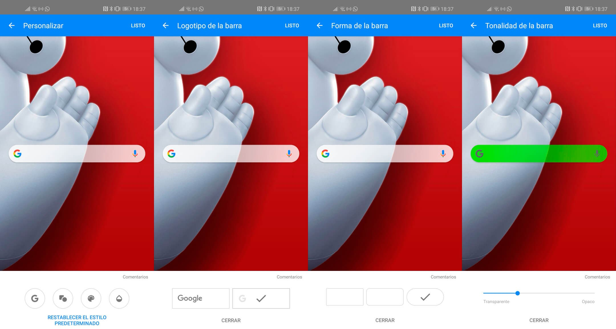 personalizar la barra de búsqueda de Google