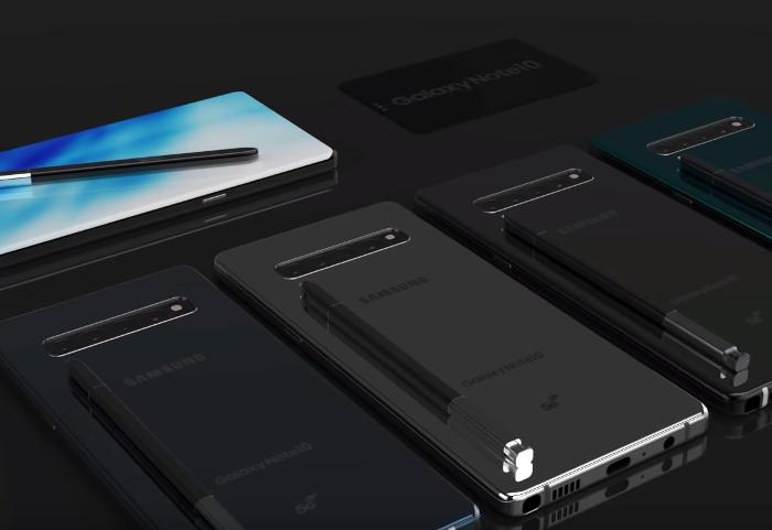 El render más espectacular del Galaxy Note 10: cámara delantera incrustada en el S-Pen