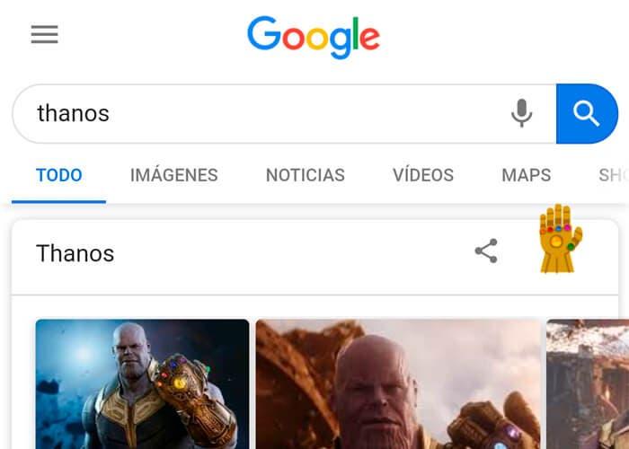 Así es el easter egg de Thanos en Google, ya puedes probarlo en tu Android