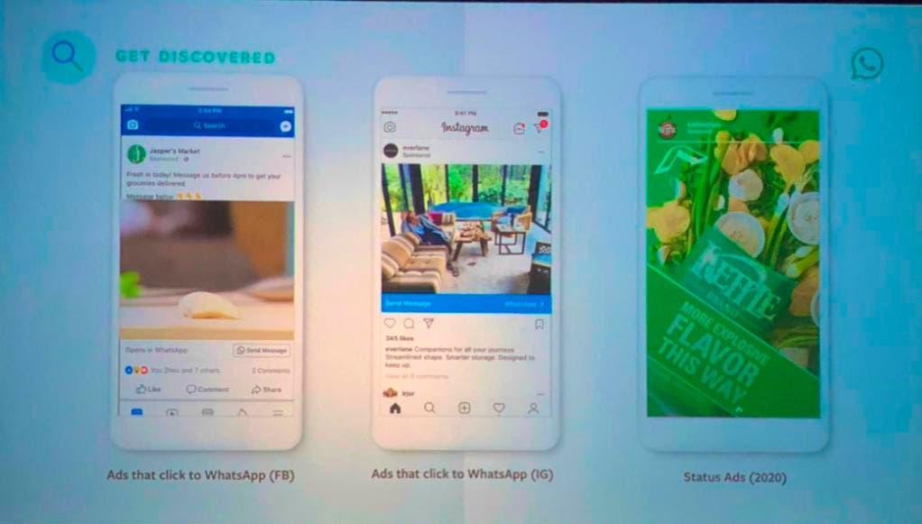 Así se verían los anuncios que llegarían a WhatsApp