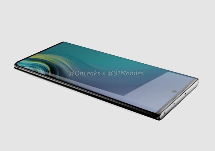 Nuevo render del Samsung Galaxy Note 10: cámara centrada y marcos planos