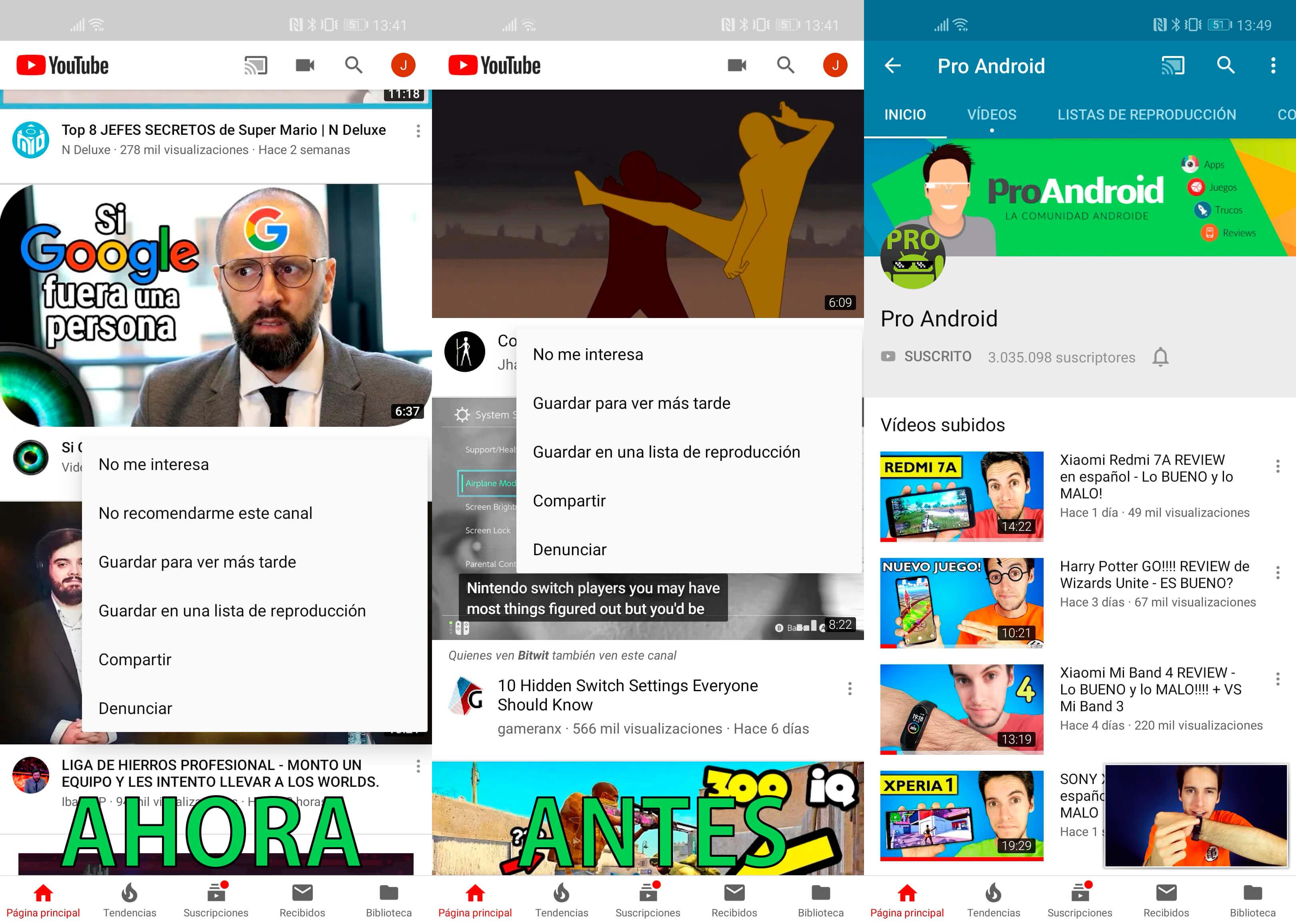 Novedades YouTube