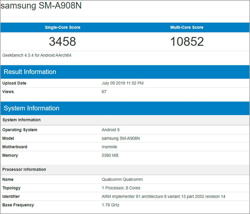 Samsung Galaxy A90 Geekbench