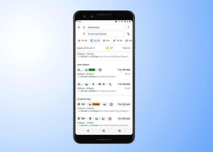 Google Maps integra las rutas mixtas para mejorar los viajes