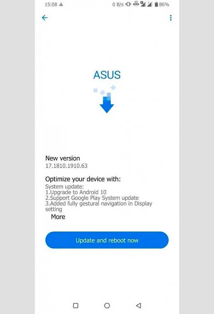 Actualización a Android 10 del Asus Zenfone 6