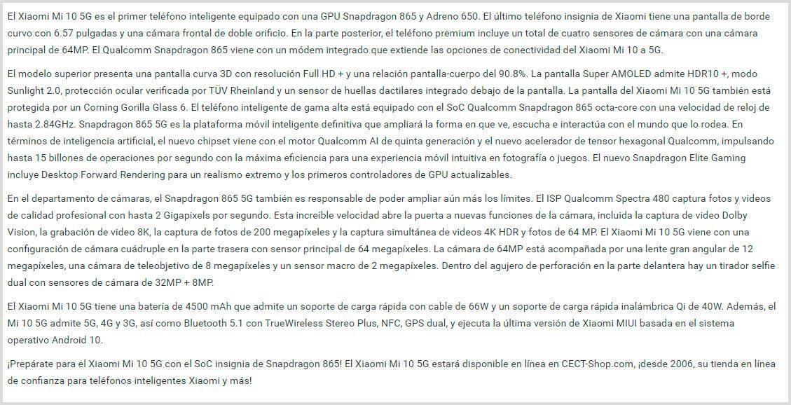 Descripcion del Xiaomi Mi 10