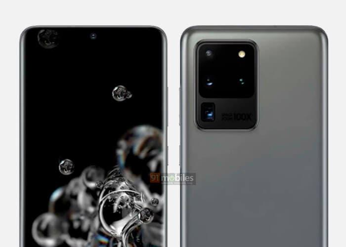 Samsung Galaxy S20 Ultra render de prensa
