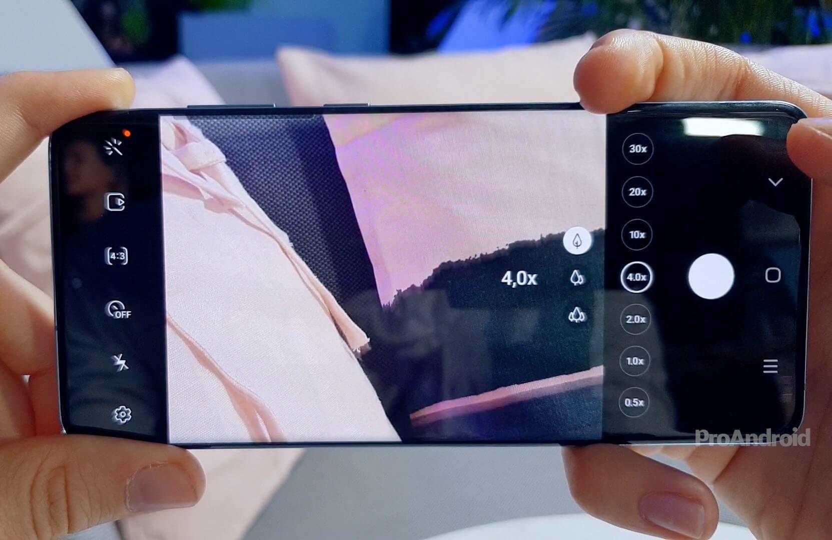 Interfaz de zoom en el Samsung Galaxy S20 Ultra