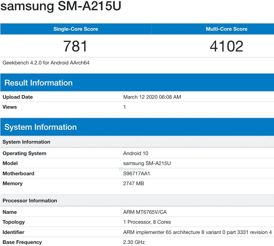Samsung Galaxy A21 Geekbench