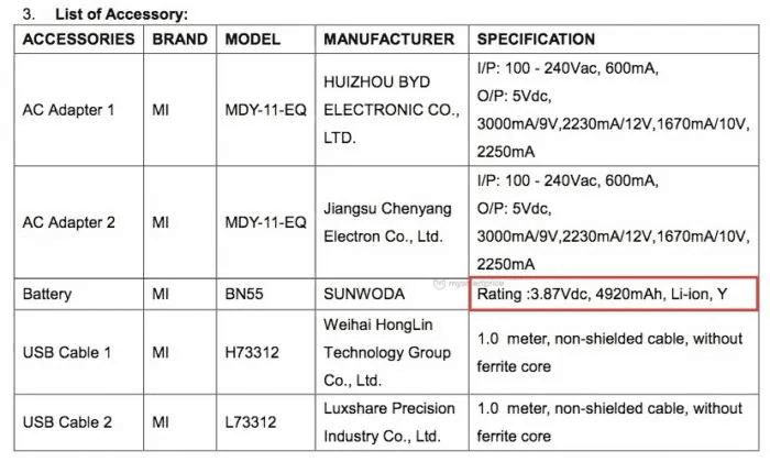 Redmi Note 9 Pro batería