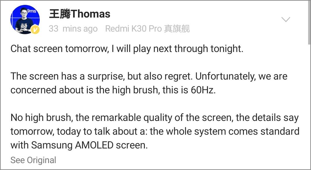 Redmi K30 Pro pantalla de 60 Hz