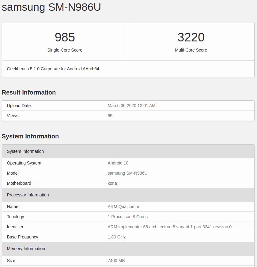 Samsung Galaxy Note 20 Geekbench