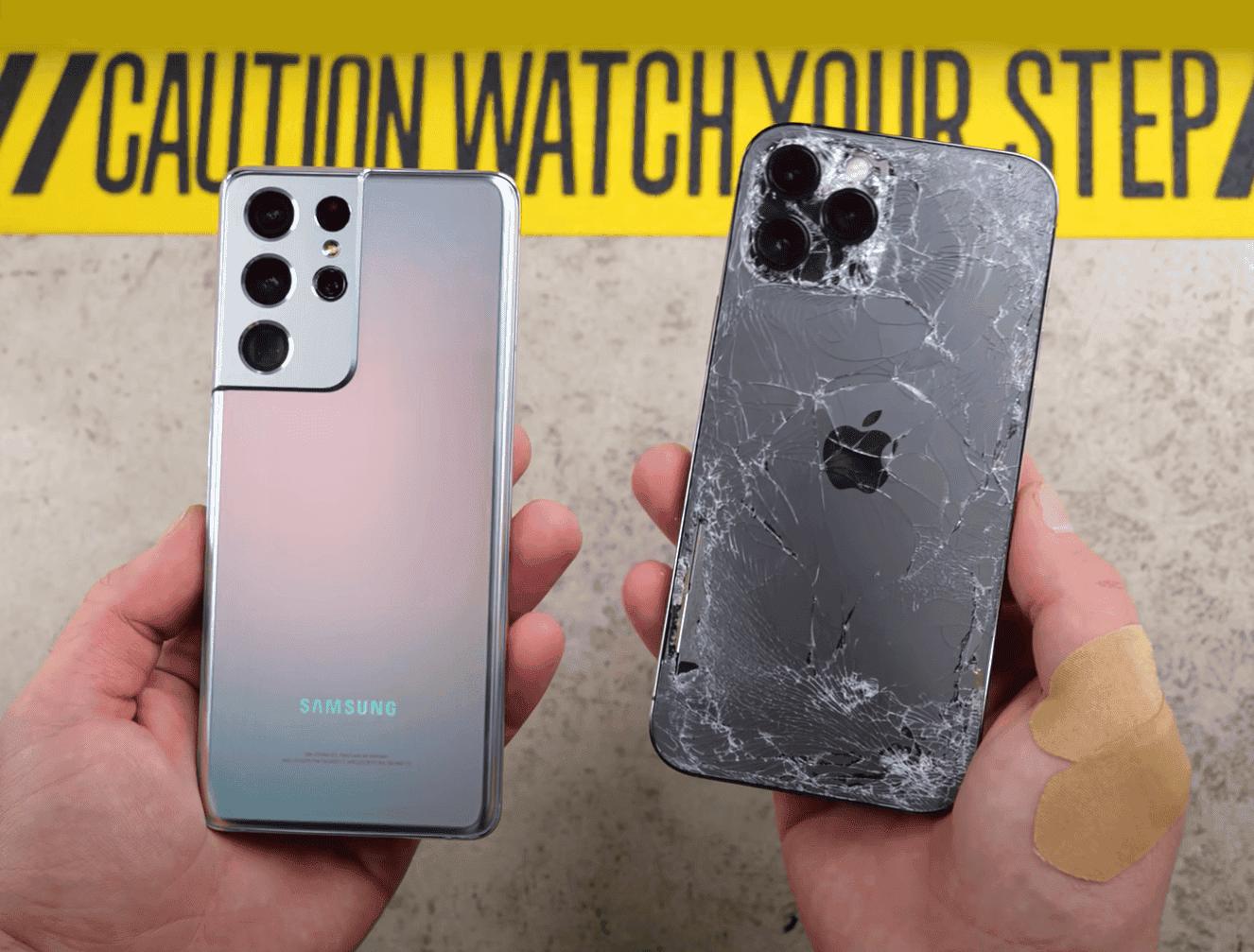 El iPhone 12 Pro Max supera al Samsung Galaxy S21 Ultra en este test de caídas