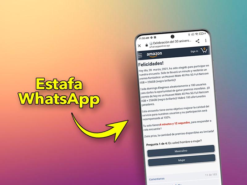 Estafa en WhatsApp: no abras este enlace de Amazon si no quieres infectar tu móvil
